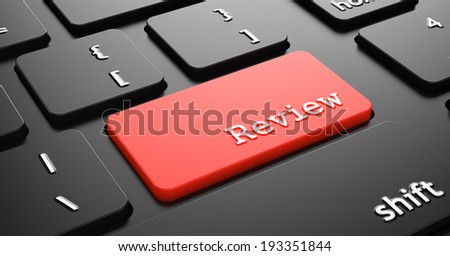"Review on Red Button ""Enter""on Black Computer Keyboard. - stock photo"