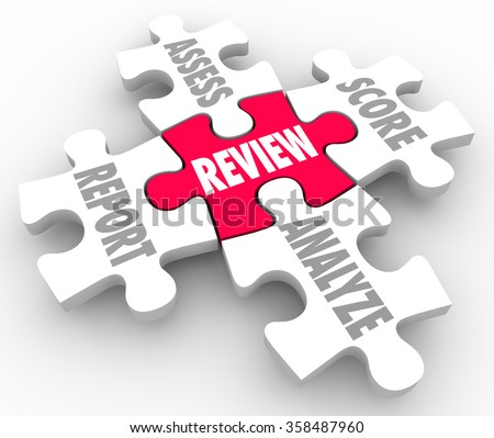 Review, Report, Assess, Analyze and Score words on five puzzle pieces to illustrate evaluation or rating performance - stock photo