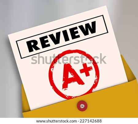 Review word and A Plus grade on a report card to illustrate a great rating, score, evaluation or assessment for a student, employee or worker - stock photo