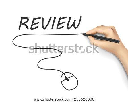 review word written by hand on white background - stock photo