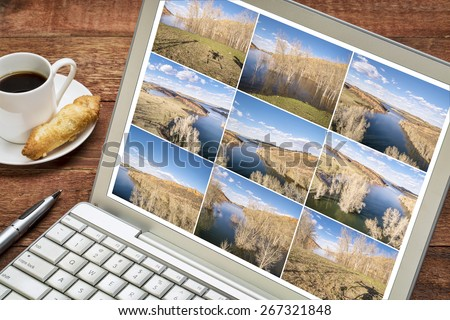 Reviewing and editing a sequence of time lapse aerial pictures on a laptop - lake landscape in Colorado with a drone shadow. All screen images copyright by the photographer. - stock photo