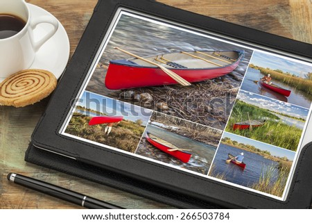 Reviewing pictures of canoe paddling featuring a senior male on a digital tablet with a cup of coffee. All screen pictures copyright by the photographer with the same model (self). - stock photo