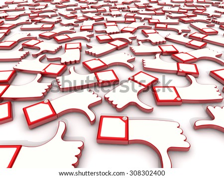 Reviews on the white surface. Hand gestures thumbs-up (like) and thumbs-down (dislike) on white surface - stock photo