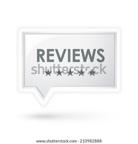 reviews word on a speech bubble over white - stock photo