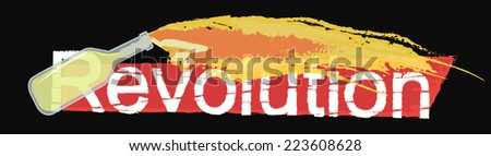 Revolution grunge scratched logo with flying burning molotov cocktail isolated on black  - stock photo