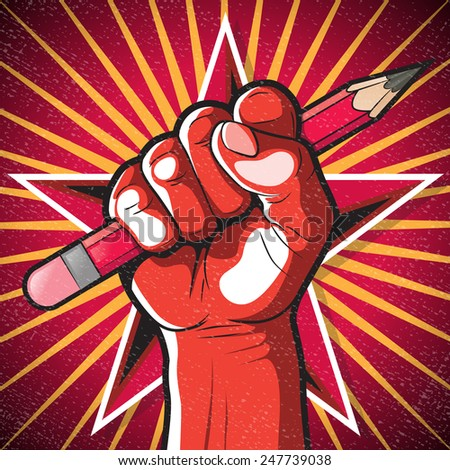Revolutionary Punching Fist and Pencil Sign. Great illustration of Russian Propaganda style punching Fist holding a pencil symbolising Freedom of speech.  - stock photo