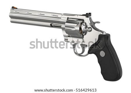 Revolver firearm steel cowboy equipment. 3D graphic