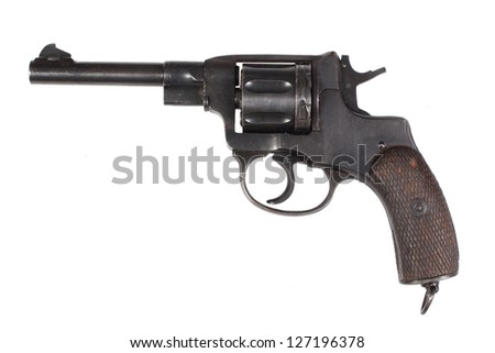 revolver gun isolated on a white background - stock photo