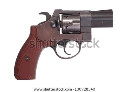 revolver gun isolated on white background - stock photo