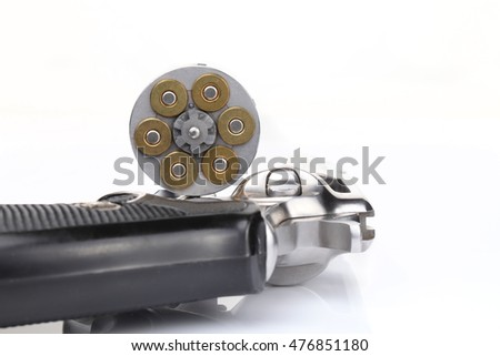revolver gun with cartridges isolated on white background