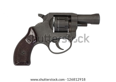 revolver hand gun isolated on white background