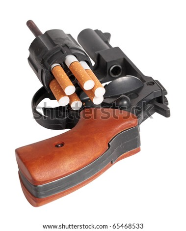 Revolver loaded by cigarets, it is isolated on a white background