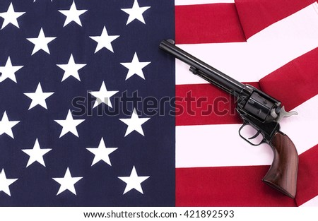 Revolver on an American flag