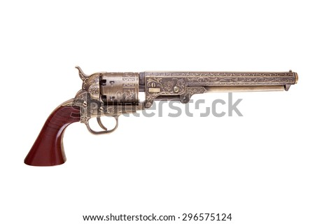 revolver pistol isolated on a white background - stock photo