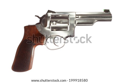 Revolver with a stainless barrel and wood grip on white - stock photo