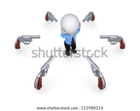 Revolvers around 3d small person.Isolated on white background.3d rendered. - stock photo