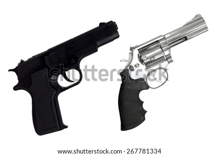 Revolvers gun and black semi-automatic isolated on white background - stock photo