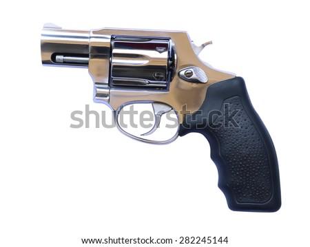 Revolvers on white background - stock photo
