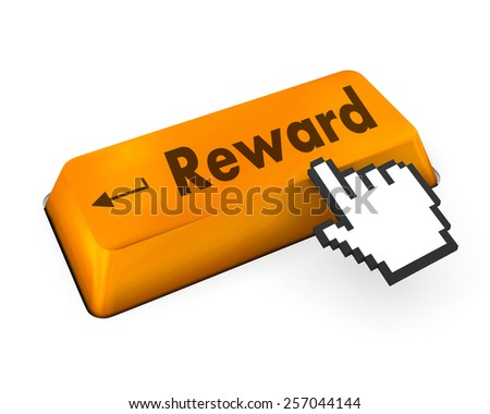 Rewards keyboard keys showing payoff - stock photo