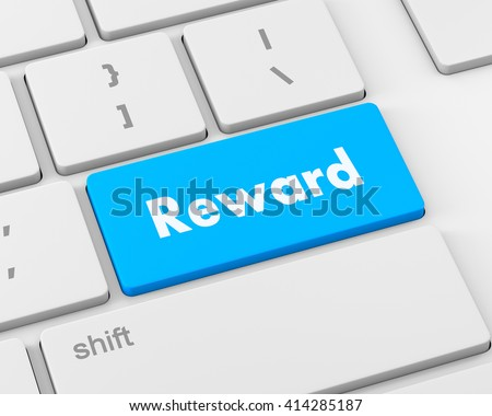 Rewards keyboard keys showing payoff, 3d rendering