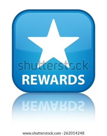 Rewards (star icon) cyan blue square button - stock photo