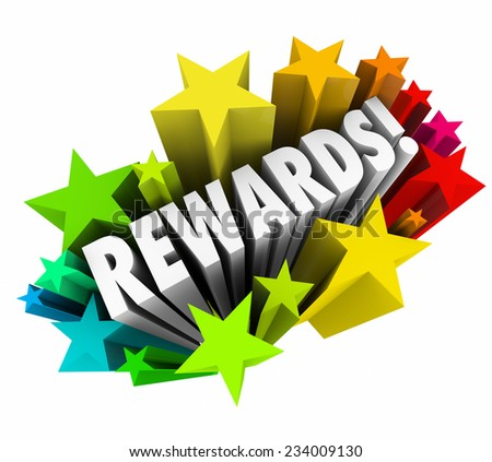 Rewards word in colorful stars illustrating a reward, bonus, prize, enticement or incentive for good performance or to encourage buying or other behavior - stock photo