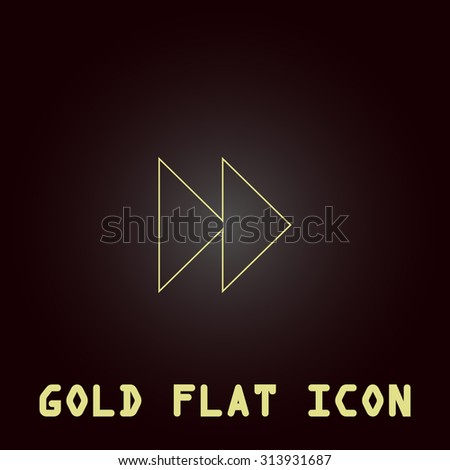Rewind forward. Outline gold flat pictogram on dark background with simple text. Illustration trend icon