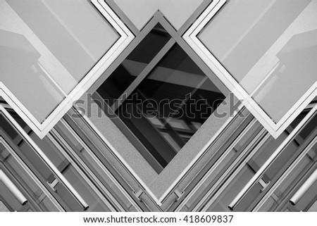 Reworked photo of modern building fragment with windows. Steel and glass. Unusual realistic but unreal architectural composition.