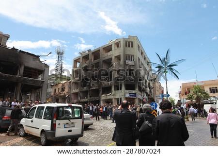REYHANLI, TURKEY-MAY 13: Death toll rises to lots of people as explosions hit Turkish town Reyhanli on May 13, 2013 in Reyhanli, Turkey.  - stock photo