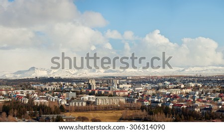 Reykjavik city panoramic view travel destination - stock photo