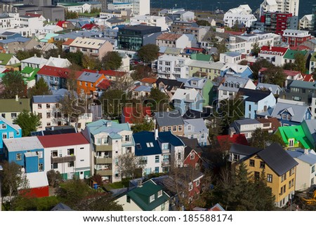 reykjavik from above  - stock photo