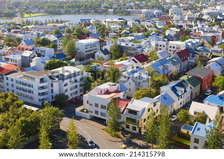 REYKJAVIK, ICELAND - AUGUST 18: Reykjavik, the capital city of Iceland on August 18, 2014 - stock photo