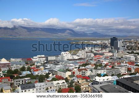 Reykjavik, Iceland - August 7, 2015: View from the top of Hallgrimskirkja (Church of Hallgrimur) to downtown Reykjavik.  - stock photo