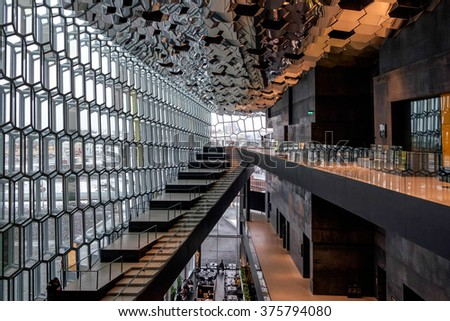 REYKJAVIK/ICELAND - FEB 04 : Interior View of the Harpa Concert Hall in Reykjavik Iceland on Feb 04, 2016. Unidentified people - stock photo