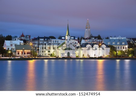Reykjavik, Iceland. Image of Reykjavik, capital city of Iceland,  during twilight blue hour. - stock photo
