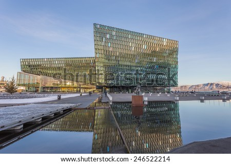 REYKJAVIK, ICELAND - January 14, 2015: Morning scene of Harpa Concert Hall in Reykjavik, Iceland. It was opened on May 4, 2013. - stock photo