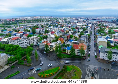 REYKJAVIK, ICELAND - JUNE 10, 2016: An aerial view of the city center, with locals and visitors, in Reykjavik, Iceland