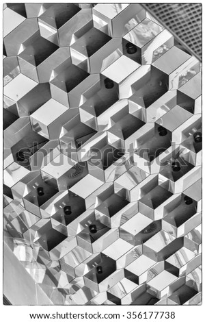 Reykjavik, Iceland, May 2014: An interior view of the mirrored ceiling of the Harpa Concert Hall and Conference Centre - stock photo