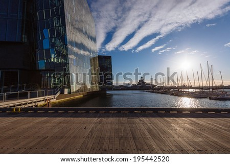 REYKJAVIK, ICELAND - MAY 20:  Harpa Concert Hall in Reykjavik, Iceland on May 20, 2014. The Harpa Concert Hall is the new landmark of the city, build in 2011.