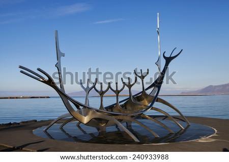 REYKJAVIK, ICELAND - OCTOBER 10th, 2014: Sculpture of Sun Voyager in Reykjavik, Iceland on October 10th, 2014. This sculpture was designed by Jon Gunnar Arnason. - stock photo