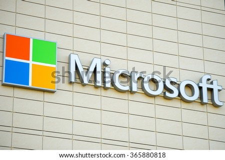 REYKJAVIK, ICELAND - SEP 15, 2015: Microsoft sign on a building in Reykjavik. Microsoft is a multinational technology corporation that develops, supports and sells computer software and services. - stock photo