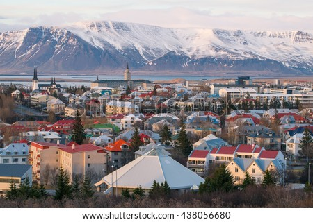Reykjavik the capital city of Iceland in the evening time. - stock photo