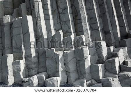 Reynisfjara Rock near Vik in Myrdal. Iceland - stock photo