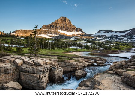 Reynolds Mountain at Logan Pass, Glacier National Park - stock photo