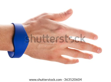 RFID Bracelet on a hand of man isolated on a white background - stock photo