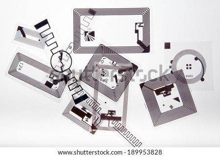 RFID. Radio Frequency Identification tags on white background - stock photo