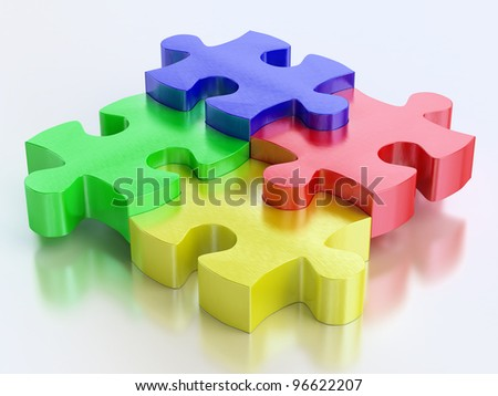 rgb color jigsaw puzzle pieces on reflect background