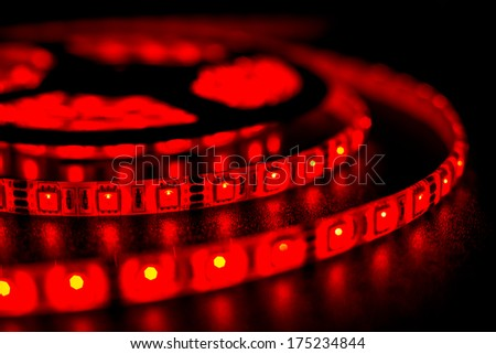 RGB LED strip lights red - stock photo