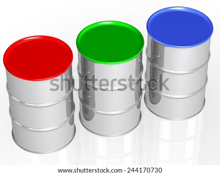 RGB metal cans with colorful caps - stock photo