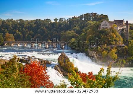 Rheinfall - the biggest waterfall in Europe - stock photo